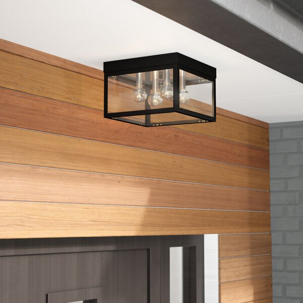 Demery 4-Light LED Metal Outdoor Flush Mount by Mercury Row