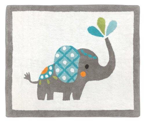 Mod Elephant Hand-Tufted Gray/White Area Rug by Sweet Jojo Designs