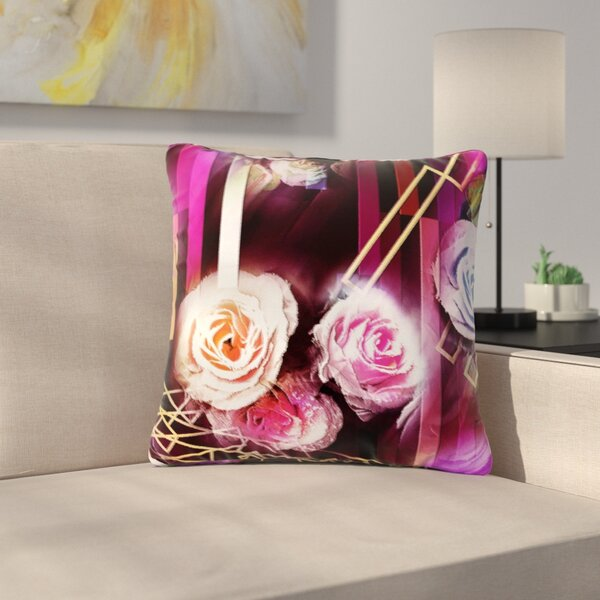 Dawid Roc Roses-Floral Geometric Stripes Outdoor Throw Pillow by East Urban Home