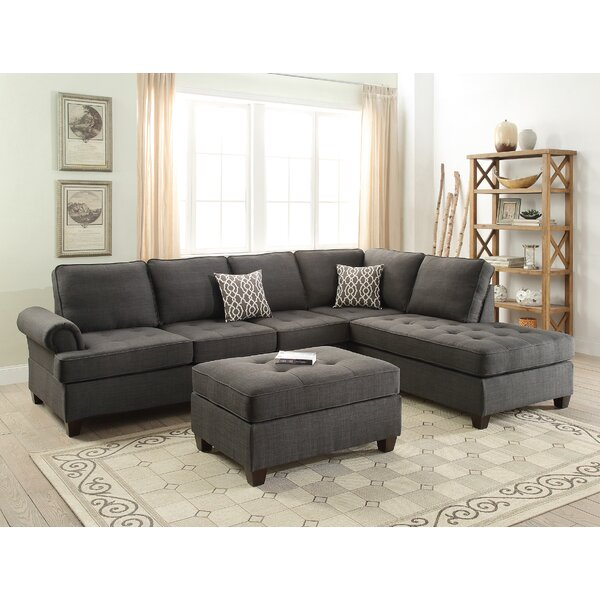 Bobkona Azura Right Hand Facing Sectional with Ottoman by Poundex