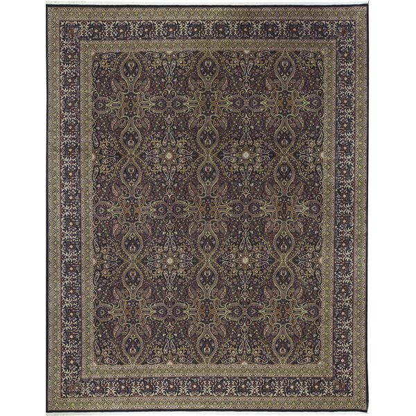 One-of-a-Kind Shah Hand-Knotted Purple/Light Brown 11'9 x 14'9 Wool Area Rug