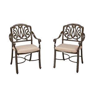 Swivel Patio Dining Chair with Cushion (Set of 2) One Allium Way