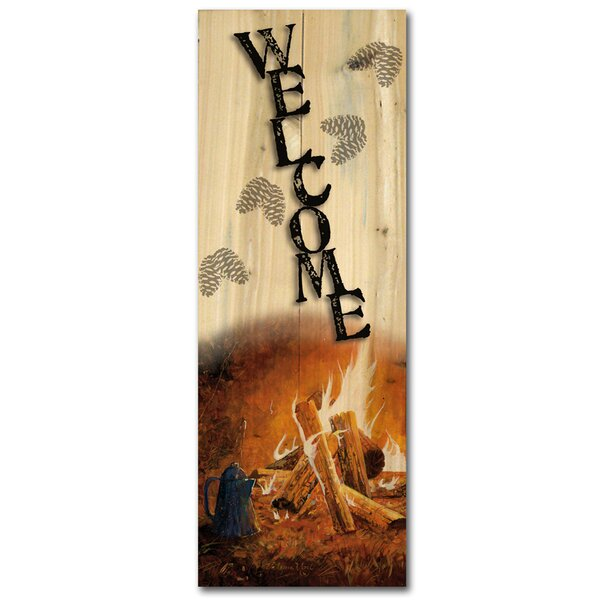 Welcome Evening Campfire Graphic Art Plaque by WGI-GALLERY