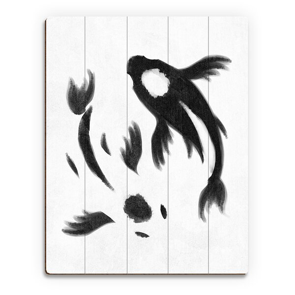 Yin-Yang Koi Painting Print on Plaque in White by Click Wall Art