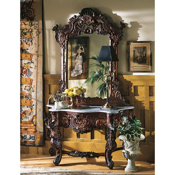 Hapsburg 54 Solid Wood Console Table and Mirror Set