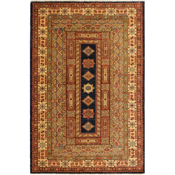One-of-a-Kind Aryan Super Kazak Hand-Knotted Wool Blue/Light Tan Area Rug by Astoria Grand