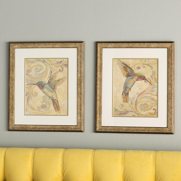 Hummingbird I / II 2 Piece Framed Painting Print Set by Three Posts