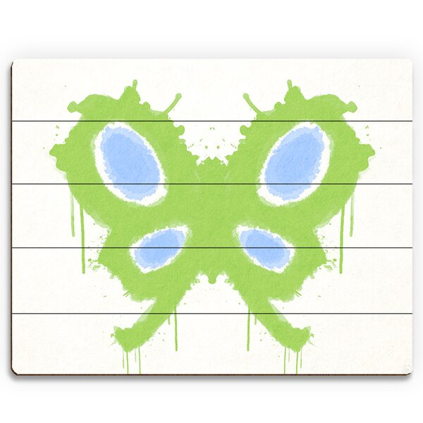 Chartreuse Butterfly Painting Print on Plaque by Click Wall Art