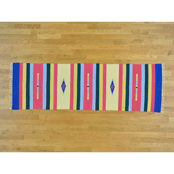 One-of-a-Kind Blanken Handmade Kilim Pink/Yellow Wool Area Rug by Isabelline