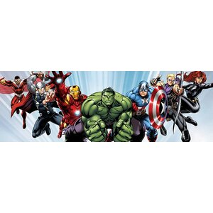 Marvel Comics Avenger Heroes Flying Panoramic Graphic Art on Canvas by iCanvas