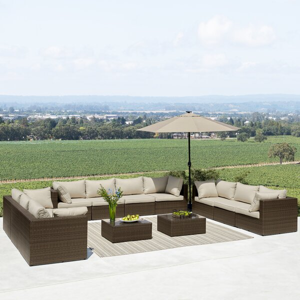 Midland 12 Piece Rattan Sectional Seating Group with Cushions