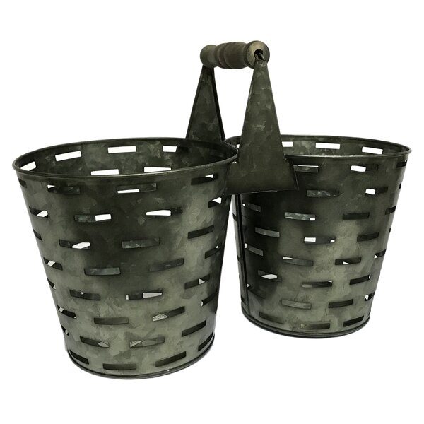 Ariad Double Olive Bucket Metal Pot Planter by Gracie Oaks