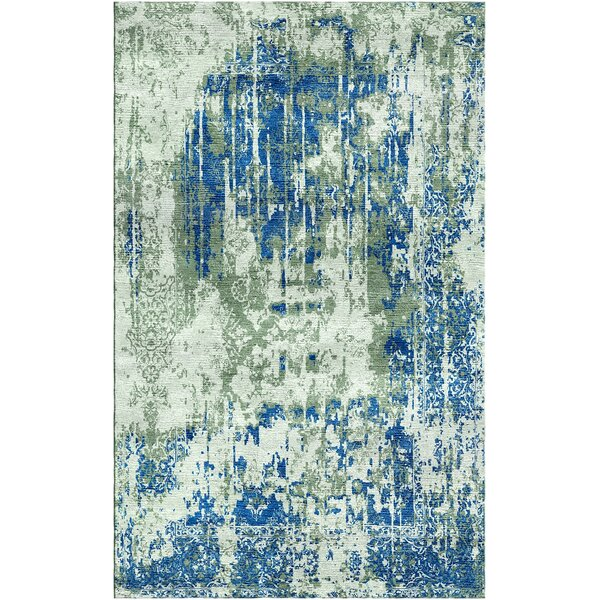 Aliza Handloom Sage/Blue Area Rug by Bungalow Rose