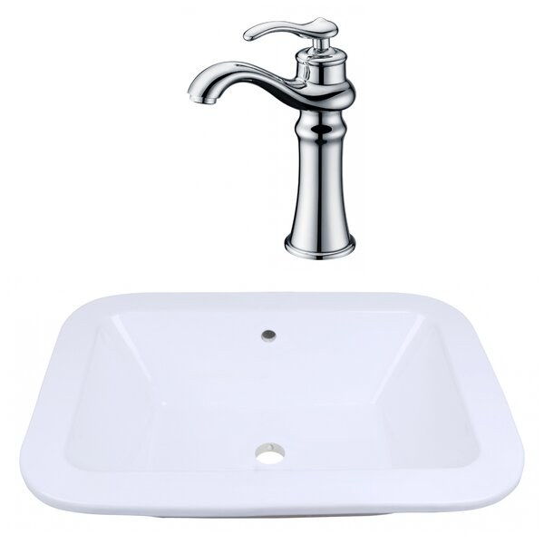 Ceramic Rectangular Drop-In Bathroom Sink with Faucet and Overflow by Royal Purple Bath Kitchen