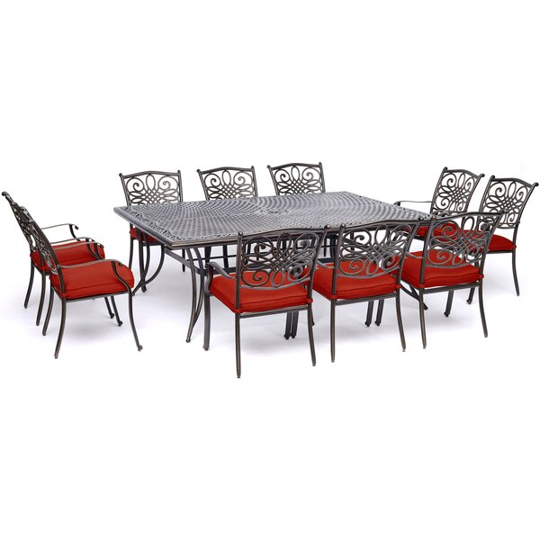 Rhoton Traditions 11 Piece Dining Set with Cushions by Astoria Grand
