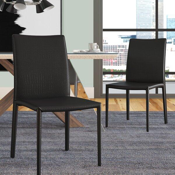 Cadwallader Genuine Leather Upholstered Dining Chair (Set of 2) by Orren Ellis