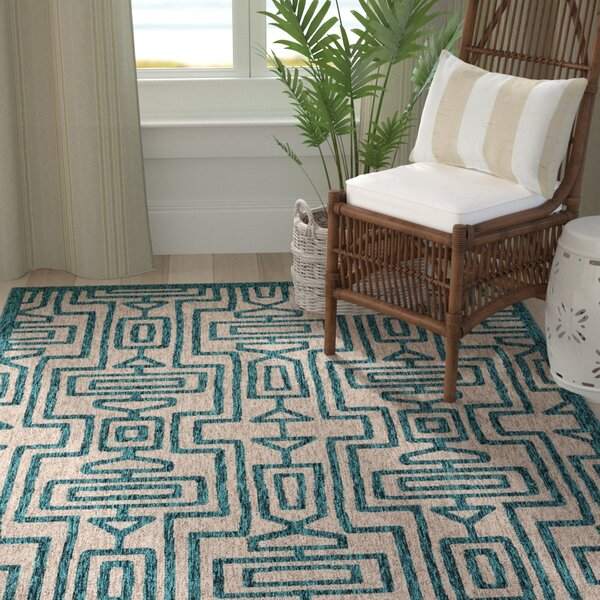 Summerfield Teal Indoor/Outdoor Area Rug by Bay Isle Home