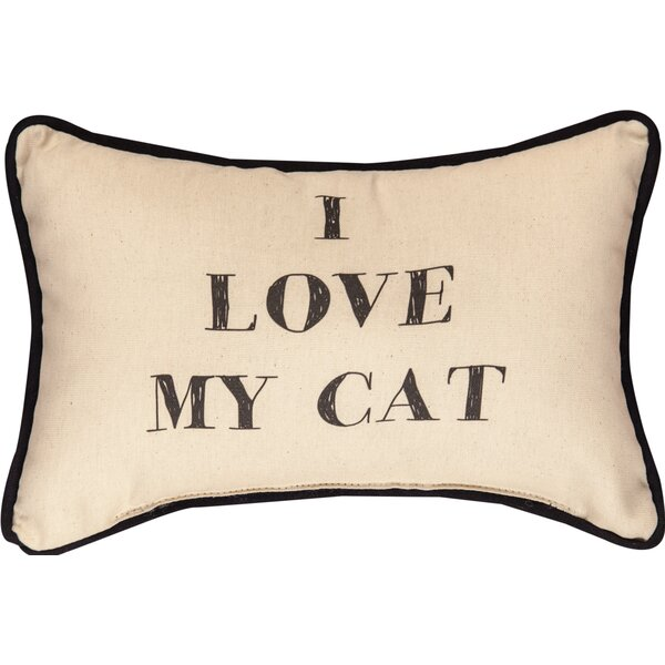 I Love My Cat Word Cotton Lumbar Pillow by Manual Woodworkers & Weavers