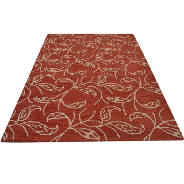 Nelia Hand-Tufted Wool Gold/Burgundy Area Rug by World Menagerie