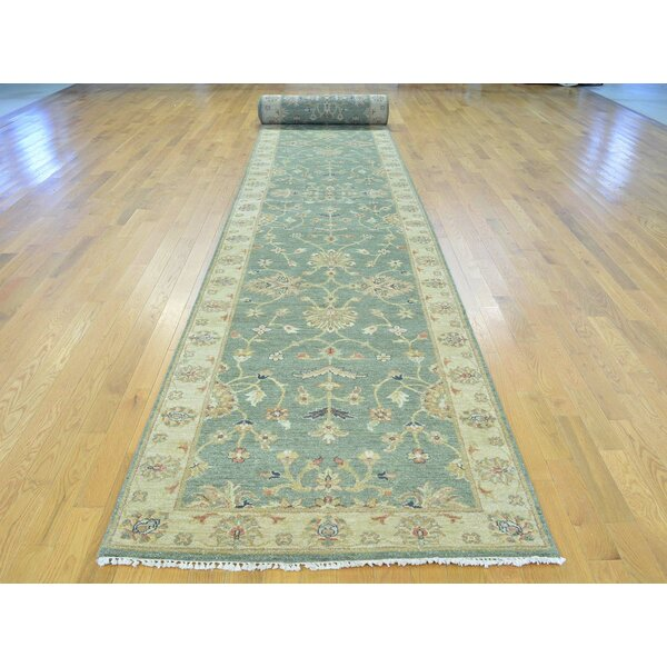 One-of-a-Kind Bearfield Hand-Knotted Green Wool Area Rug by Isabelline