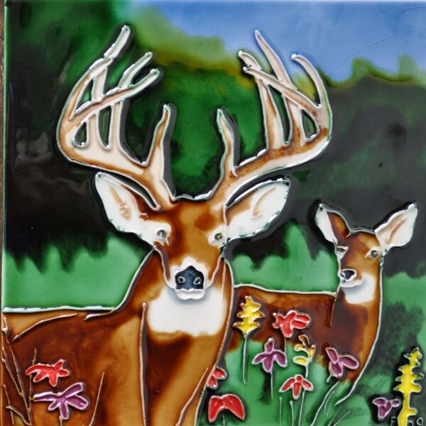Deer Tile Wall Decor by Continental Art Center