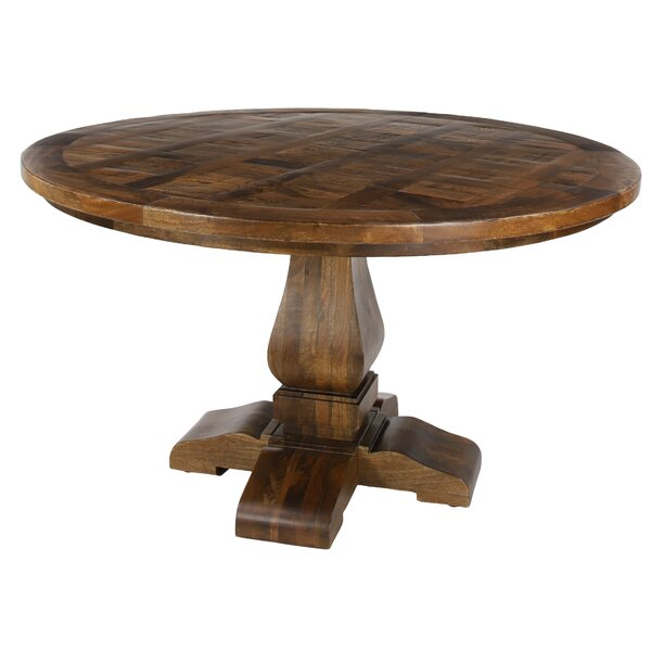 Albright Large Parquet Solid Wood Dining Table By Loon Peak