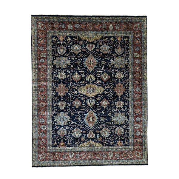 One-of-a-Kind Newcastle All Over Re-Creation Oriental Hand-Knotted Blue Area Rug by Astoria Grand