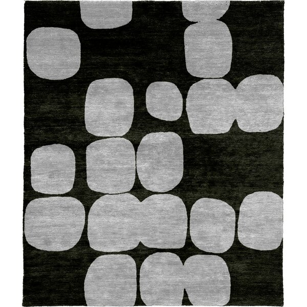 One-of-a-Kind Mylinda Hand-Knotted Gray/Black 8' x 10' Wool Area Rug
