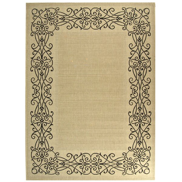 Meriline Ocean Sand/Black Outdoor Area Rug by Charlton Home