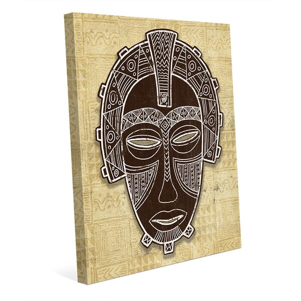 African Mask Crown Graphic Art on Wrapped Canvas by Click Wall Art