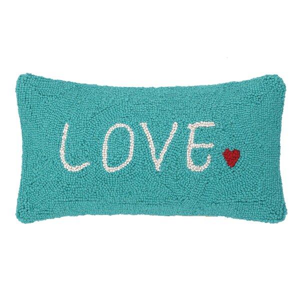Love Heart Hook Wool Lumbar Pillow by Peking Handicraft