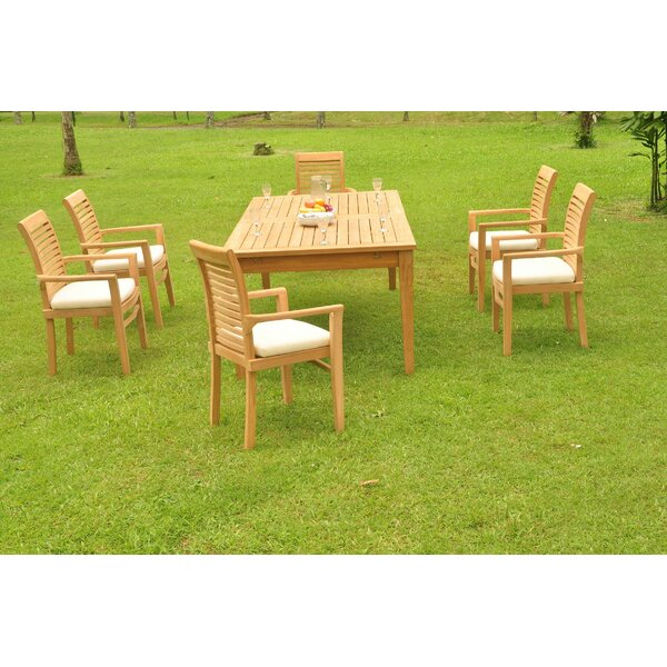 Kiska 7 Piece Teak Dining Set by Rosecliff Heights