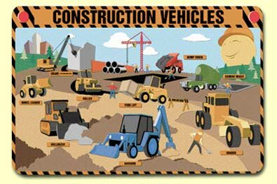 Construction Vehicles Placemat (Set of 4) by Painless Learning Placemats