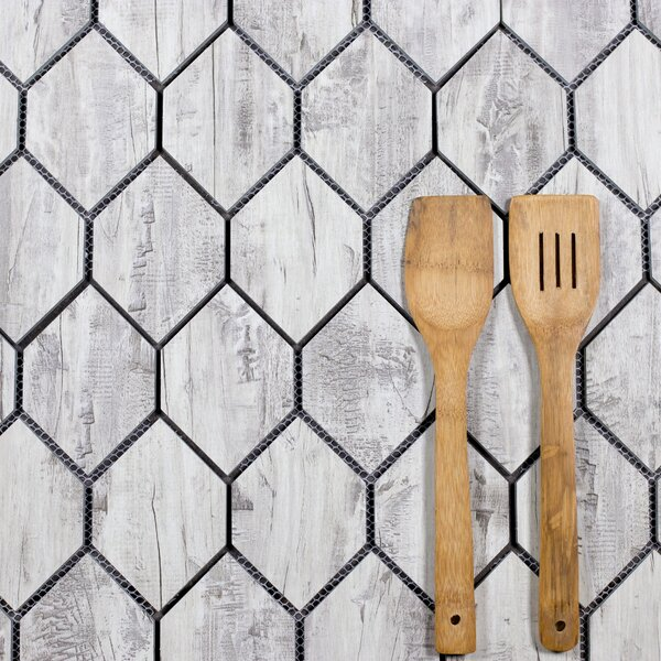 Nature Honeycomb 3.5 x 5.13 Glass Tile in Birchwood Gray/ Gray; Tan/ Wood Look by Abolos
