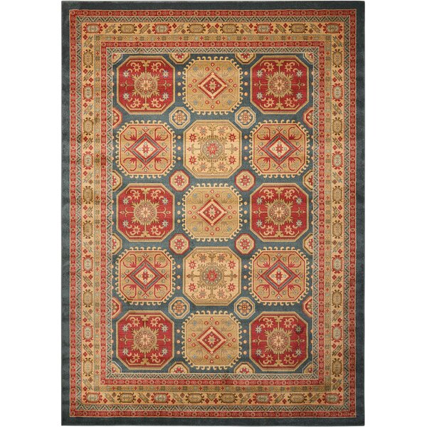 Garney Gold/Red Area Rug by Bloomsbury Market