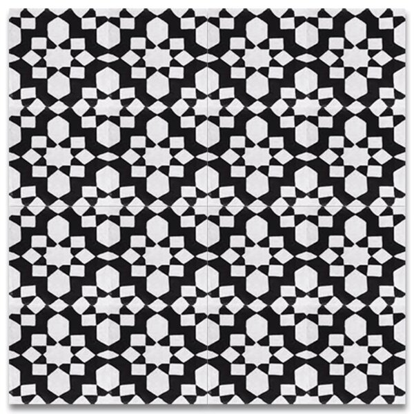 Affos 8 x 8 Cement Tile in Black and White by Moroccan Mosaic