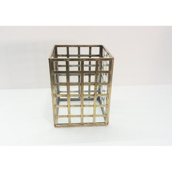 Grid Square Iron and Glass Hurricane by BIDKhome