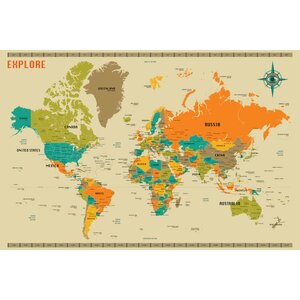 'New World Map' by Jazzberry Blue Graphic Art Print by East Urban Home