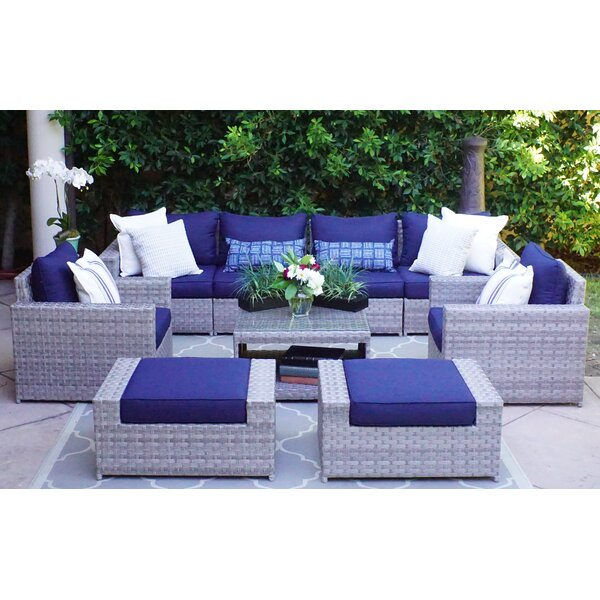 Kordell 9 Piece Rattan Sectional Seating Group with Cushions by Sol 72 Outdoor