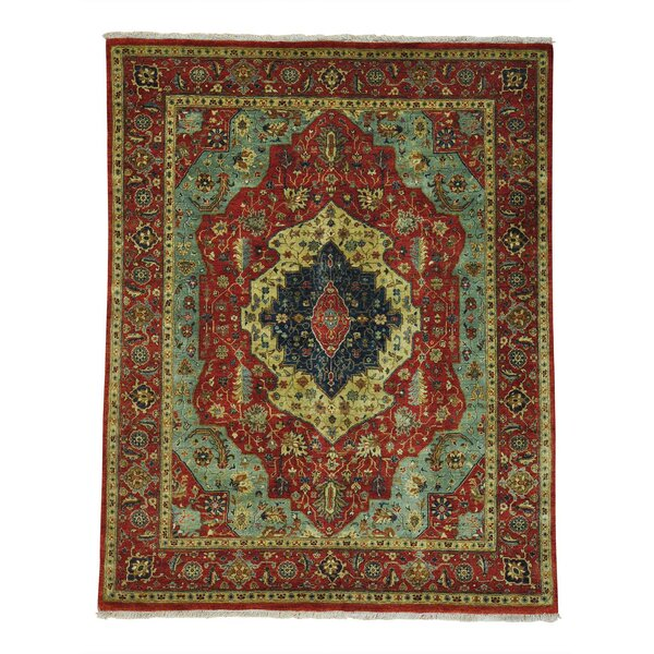 One-of-a-Kind Salzman Re-creation Hand-Knotted Red/Blue/Yellow Area Rug by Astoria Grand