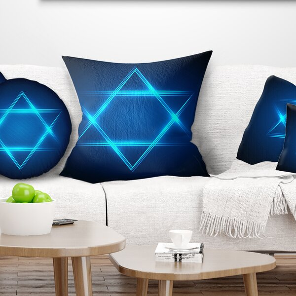 Abstract Neon Star of David Pillow by East Urban Home
