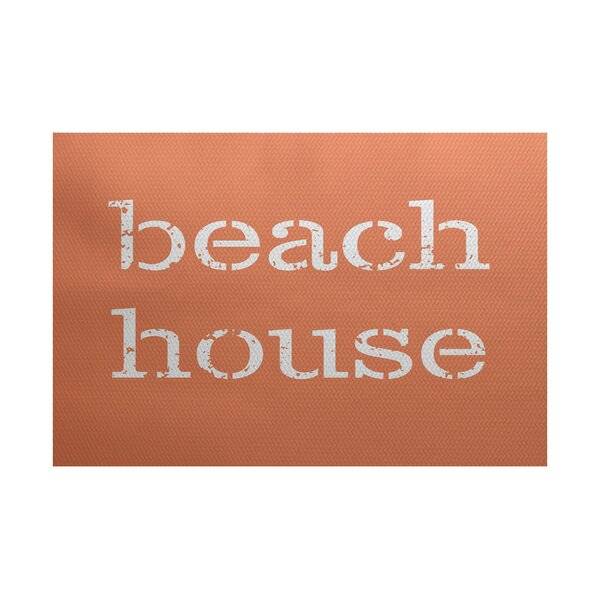 Cedarville Beach House Coral Indoor/Outdoor Area Rug by Highland Dunes