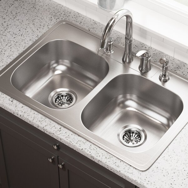 Stainless Steel 33 L x 22 W Double Basin Drop-In Kitchen Sink by MR Direct