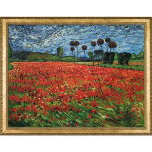'Field of Poppies' by Vincent Van Gogh Framed Oil Painting Print on Canvas by Darby Home Co