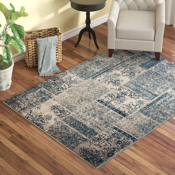 Travis Floral Patchwork Gray/Teal Area Rug by Winston Porter