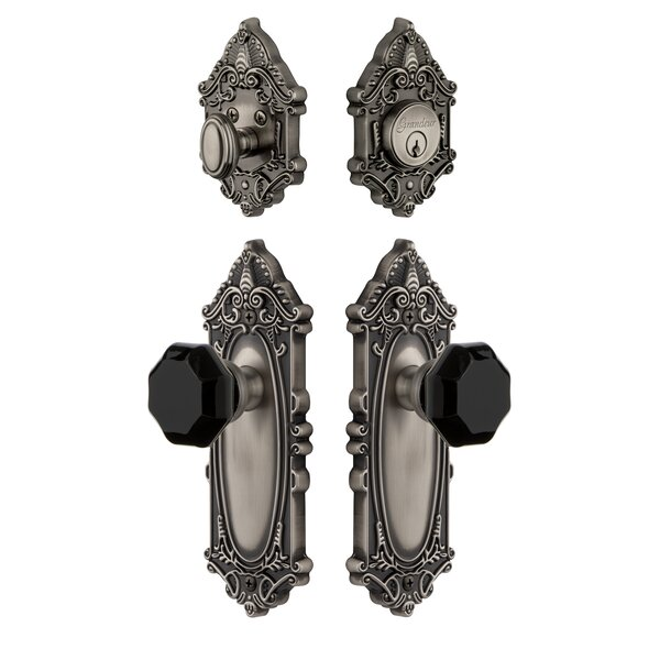 Grande Victorian Plate Single Cylinder Knob Combo Pack with Lyon Knob and matching Deadbolt by Grandeur