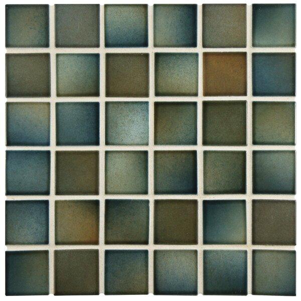 Arthur 2 x 2 Porcelain Mosaic Tile in Brown/Green by EliteTile