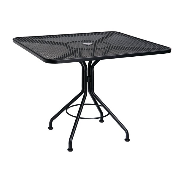 Mesh Top Contract 36 Square Wrought iron Dining Table by Woodard