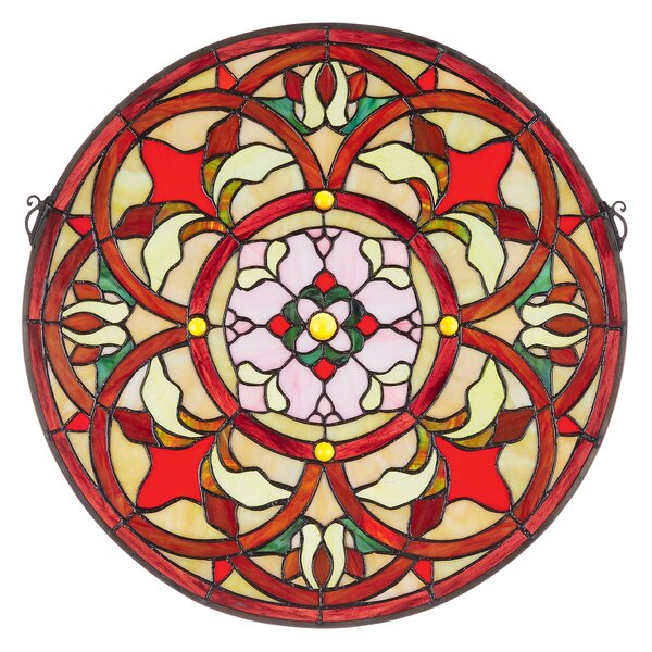 Baroque Floral Medallion Tiffany-Style Stained Glass Window by Design Toscano