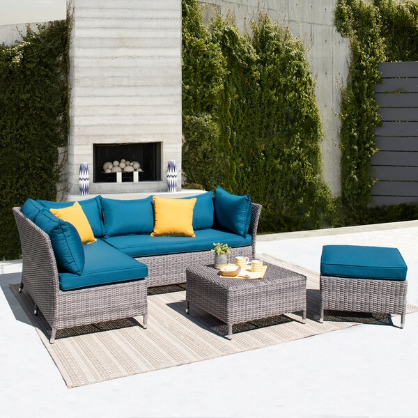 Gentile 4 Piece Rattan Sectional Seating Group with Cushions by Ivy Bronx